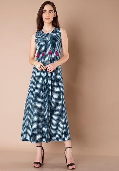 Box Pleat Tassel Maxi Tunic - Dotted