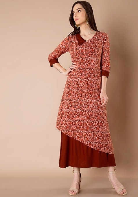 Asymmetric Layered Tunic - Rust