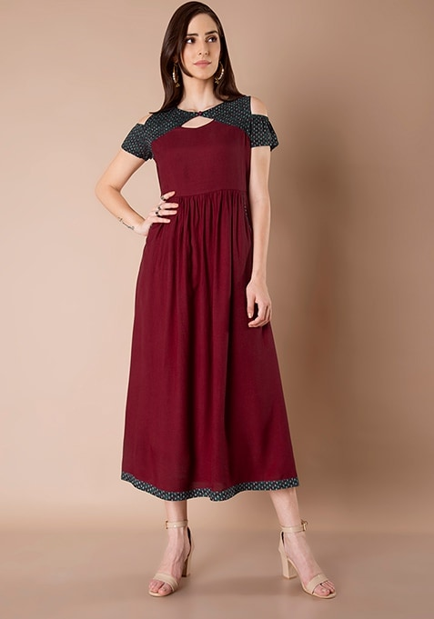 Cold Shoulder Maxi Dress - Oxblood