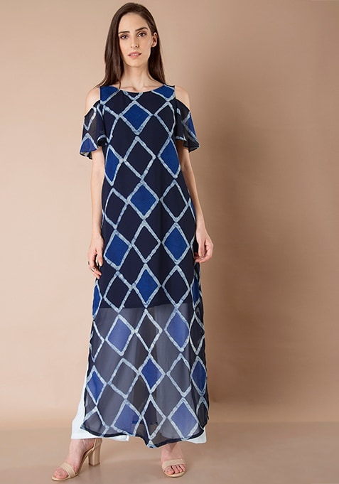 Georgette Cold Shoulder Maxi Tunic - Navy