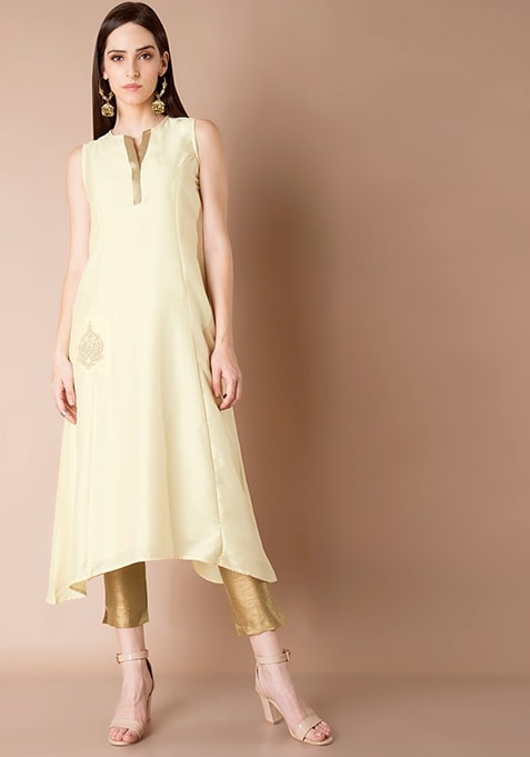 Embroidered Pocket Silk Tunic - Ivory