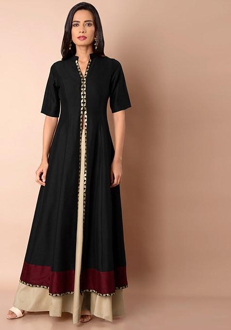Oxblood Hem Silk Maxi Jacket - Black
