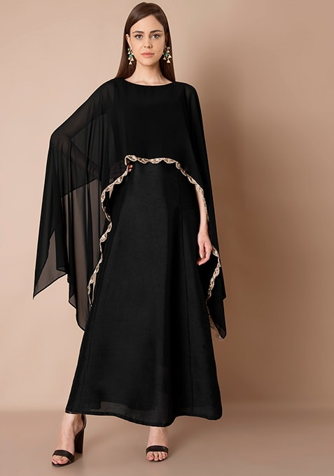 Cape Maxi Tunic - Black