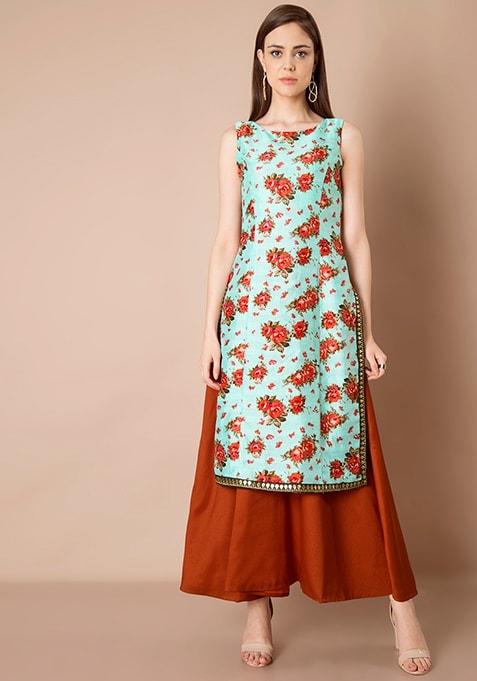 Embellished Double Layer Silk Maxi Tunic - Aqua Floral