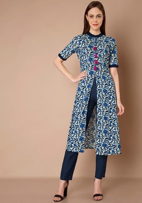 Front Slit Tassel Tunic - Blue Floral
