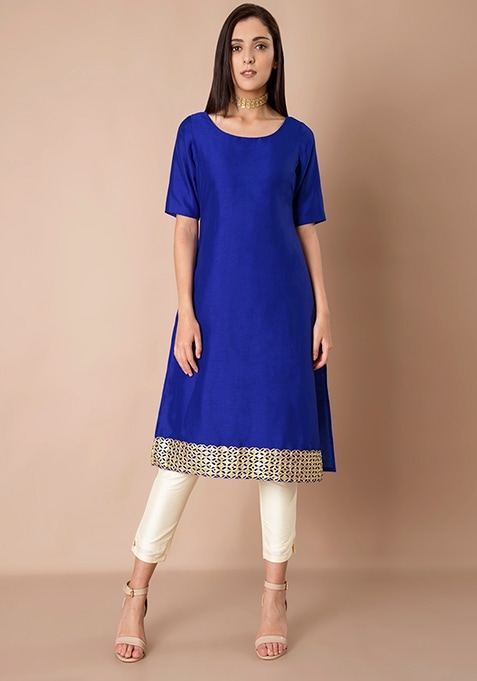 Mirror Lace Silk Tunic - Blue