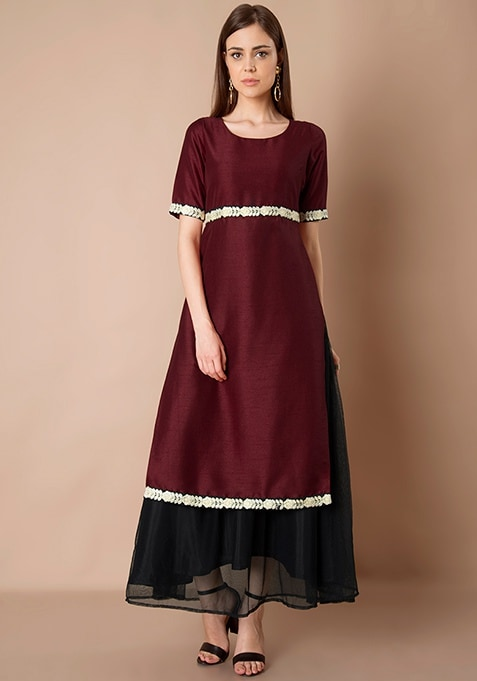 Embroidered Double Layer Silk Tunic - Oxblood