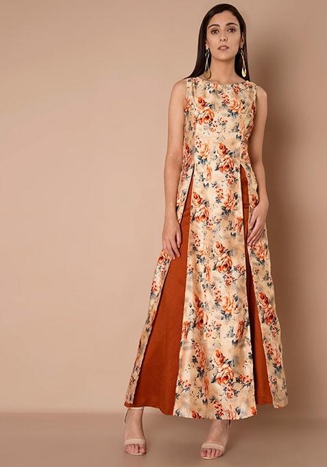 Double Slit Silk Maxi Tunic - Peach Orange Floral