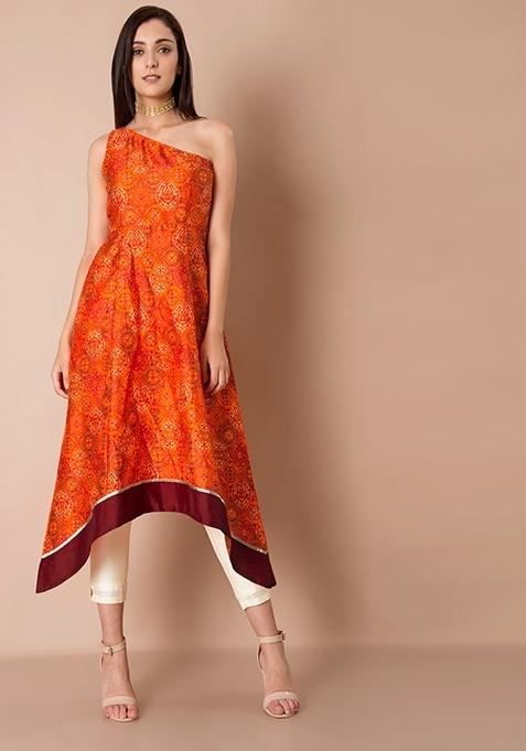 One Shoulder Silk Tunic - Orange Baroque