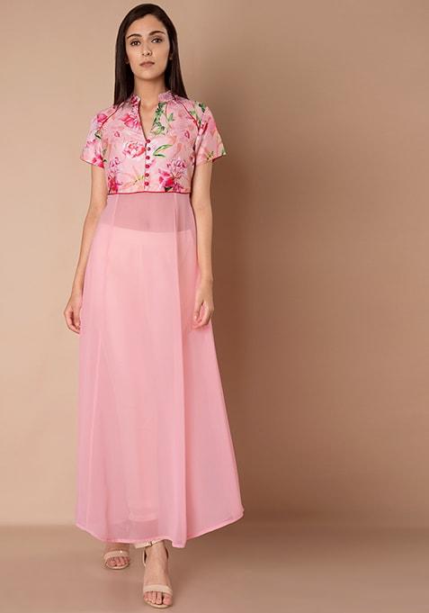 Silk Yoke Maxi Tunic - Pink Floral