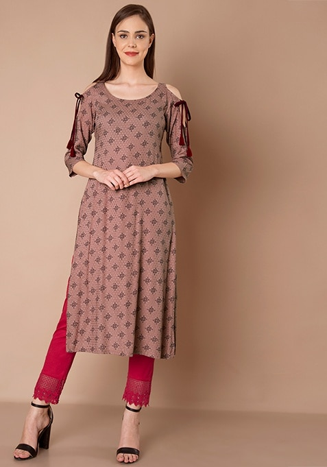 Tie Up Sleeve Cold Shoulder Tunic - Dusty Pink