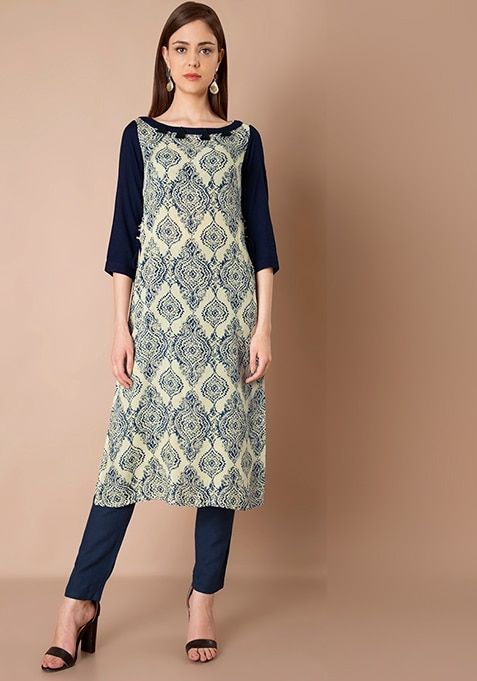 Tassel Neck Tunic - Blue Baroque