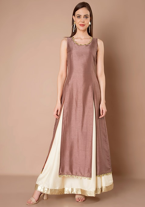 Old Rose Silk Maxi Tunic