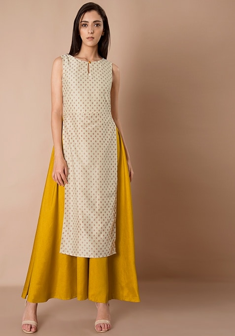 Double Layer Silk Maxi Tunic - Ivory Mustard