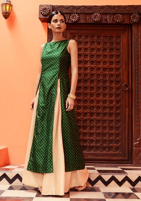 Emerald Foil Silk Maxi Tunic