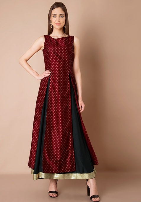 Double Slit Maxi Tunic - Oxblood Brocade