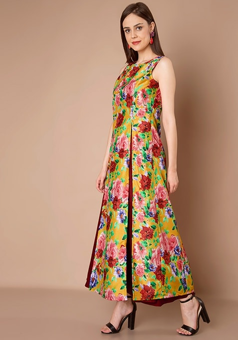 Double Slit Silk Maxi Tunic - Yellow Floral