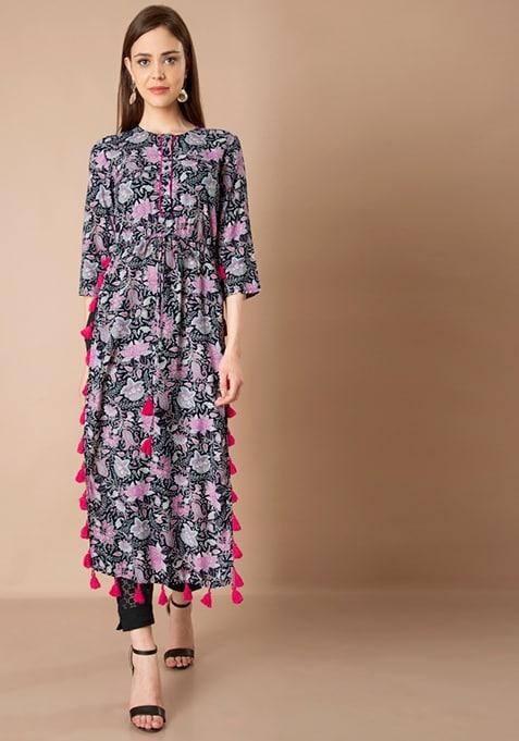 Tasseled Maxi Tunic - Floral Print