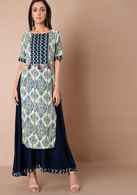 Double Layer Maxi Tunic - Blue Motif