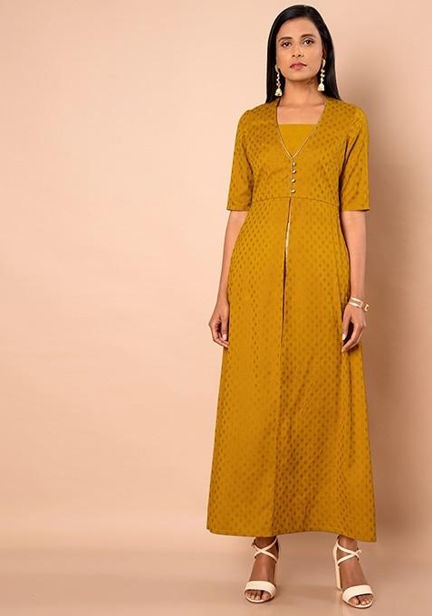 Silk Maxi Tunic - Mustard Foil