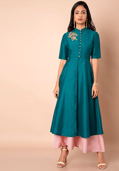 Teal Embroidered Double Layer Silk Tunic