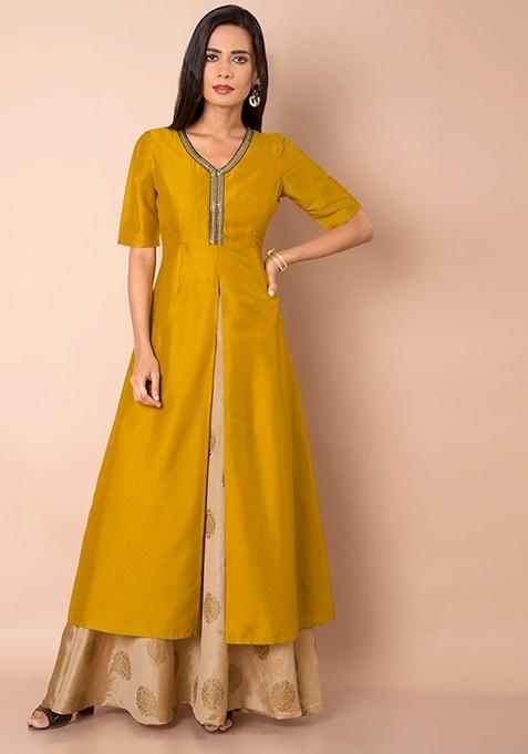 Mustard Front Slit Silk Maxi Tunic