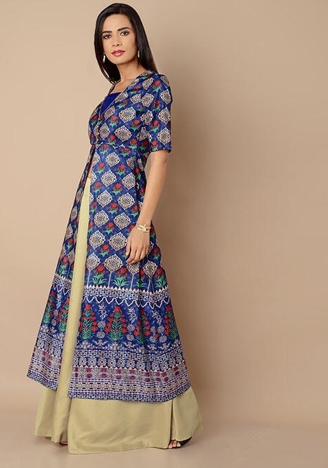 Blue Geo Floral Silk Maxi Tunic