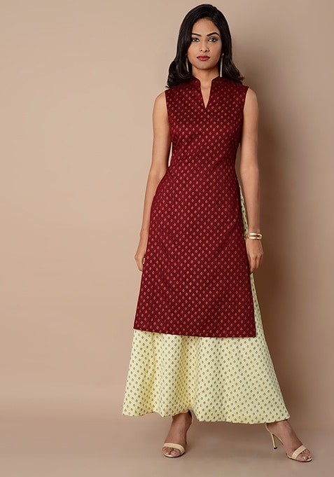 Collared Double Layer Silk Maxi Tunic - Oxblood Ivory