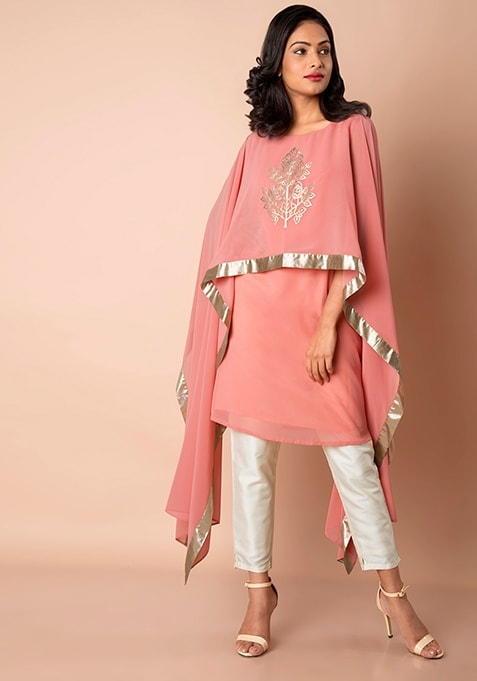 Dusty Pink Embellished Short Cape Tunic