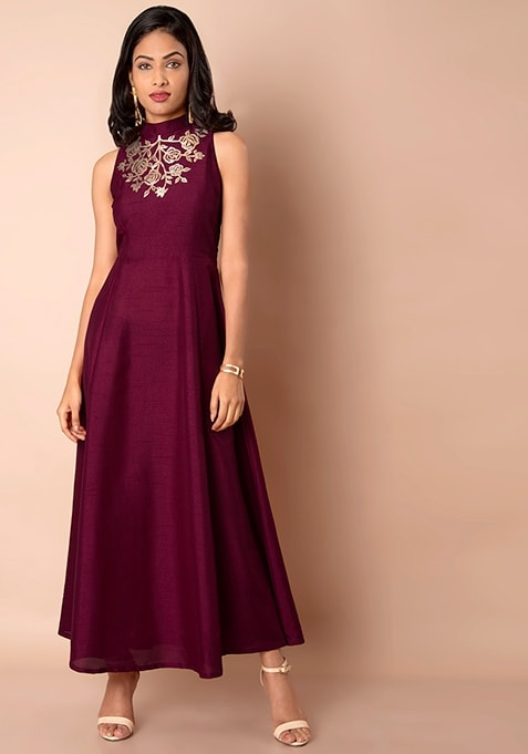 Plum Embellished Silk Maxi Tunic