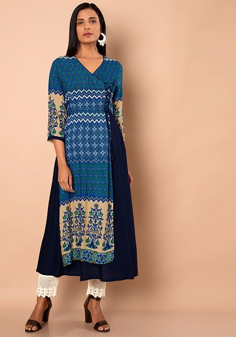 Navy Wrap Around Double Layer Maxi Tunic