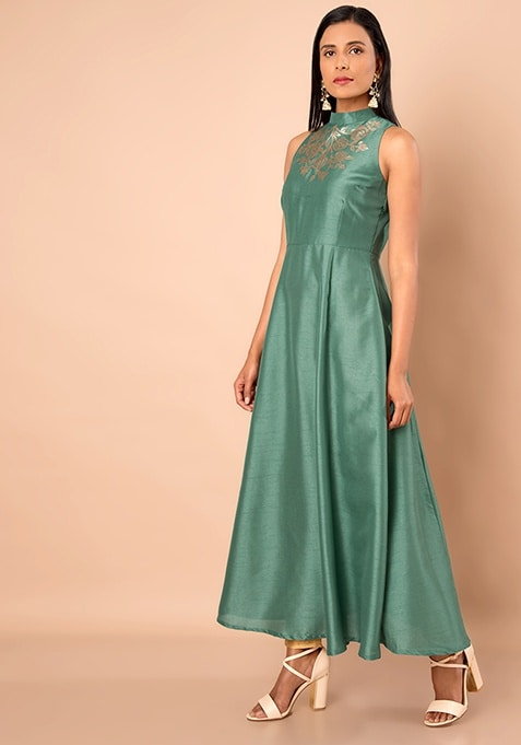 Blue Green Embellished Silk Maxi Tunic