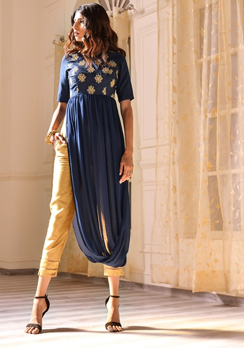 Navy Embroidered Cowl Hem Maxi Tunic