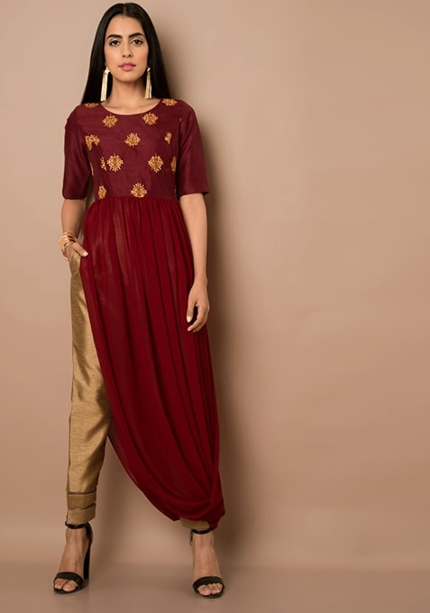 Oxblood Embroidered Cowl Hem Maxi Tunic