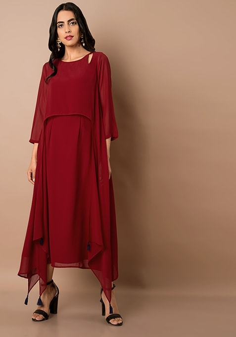 Oxblood High Low Cape Maxi Tunic