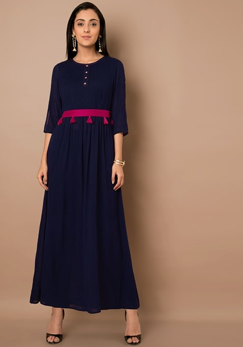 Navy and Pink Tassel Belt Maxi Tunic