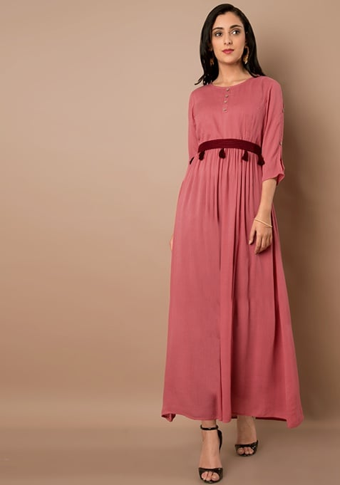 Pink and Oxblood Tassel Belt Maxi Tunic