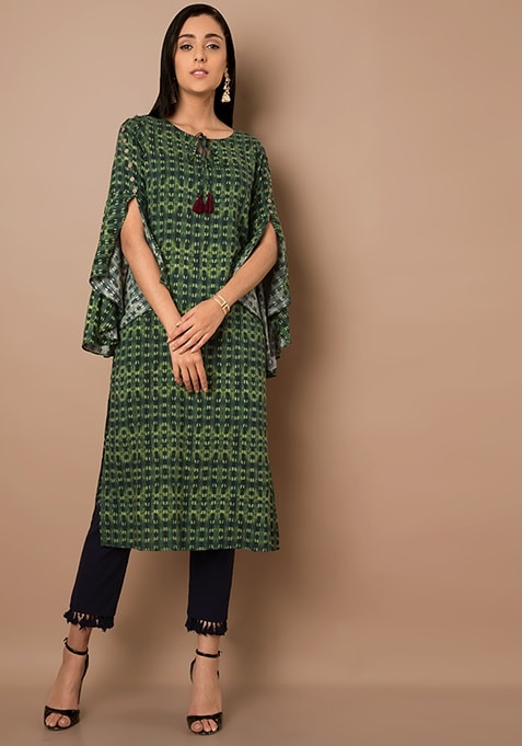 Green Bell Sleeves Printed Tunic