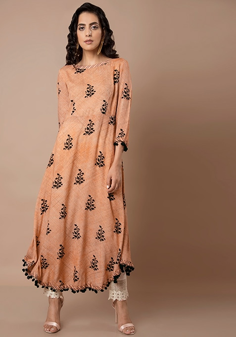 Peach Printed Curved Hem Tunic