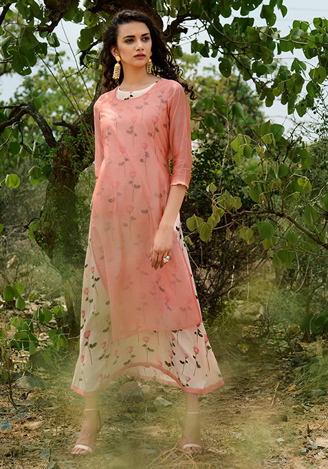 Coral Printed Double Layer Chanderi Tunic