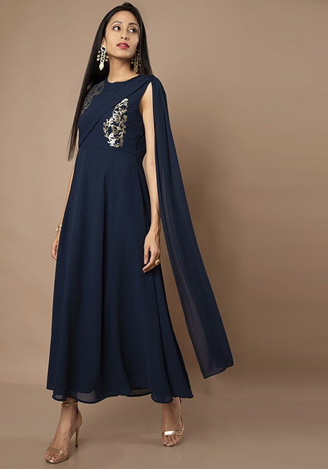 Navy Embellished Maxi Tunic With Pleated Dupatta