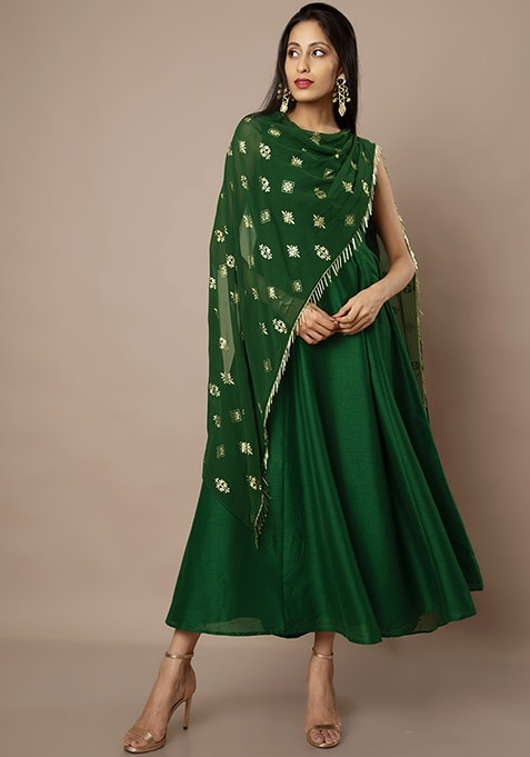 Emerald Green Foil Draped Dupatta Maxi Tunic