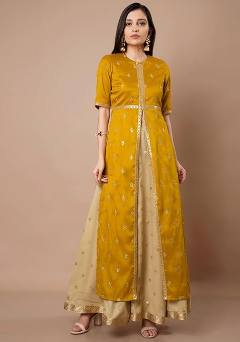 Mustard Embroidered Slit Silk Maxi Tunic