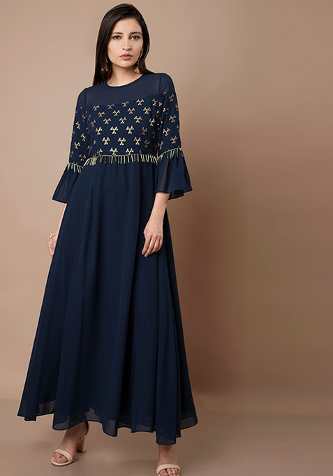 Navy Foil Fringed Bell Sleeve Maxi Tunic