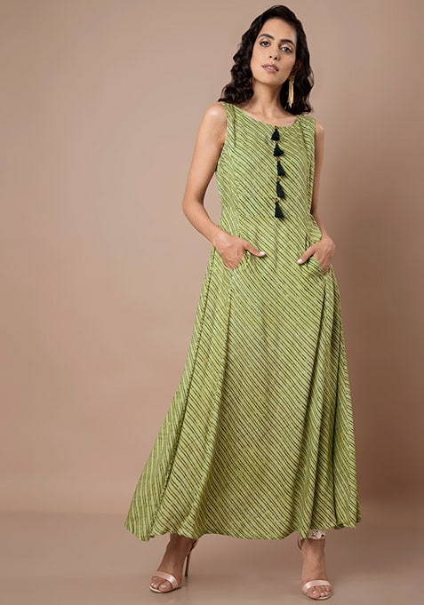 Green Striped Tassel Maxi Tunic