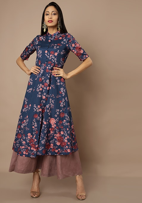 Navy Ditsy Floral Double Layer Silk Maxi Tunic