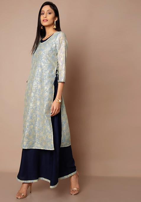 Blue Printed Chanderi Kurti With Tunic
