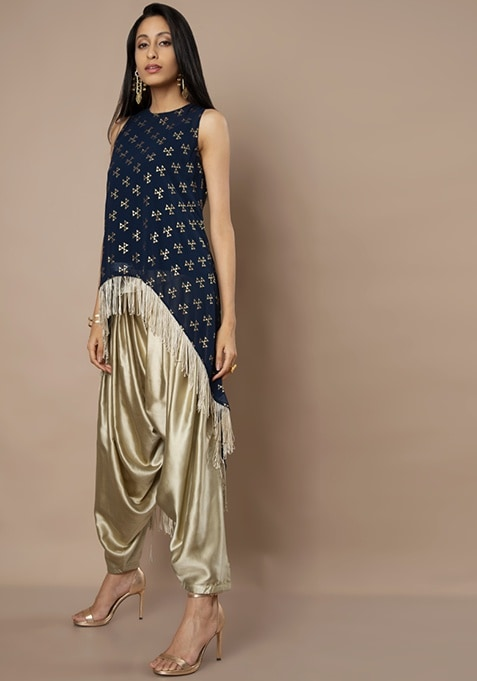 Navy High-Low Georgette Tunic With Gold Fringe Hem