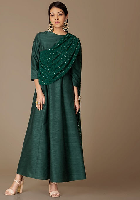 Green Maxi Tunic With Attached Mukaish Dupatta