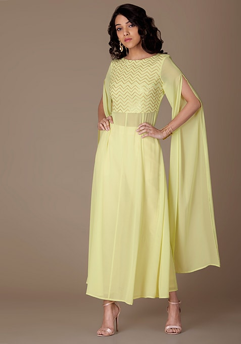 Mint Sequin Yoke Maxi Tunic With Extra Long Sleeves